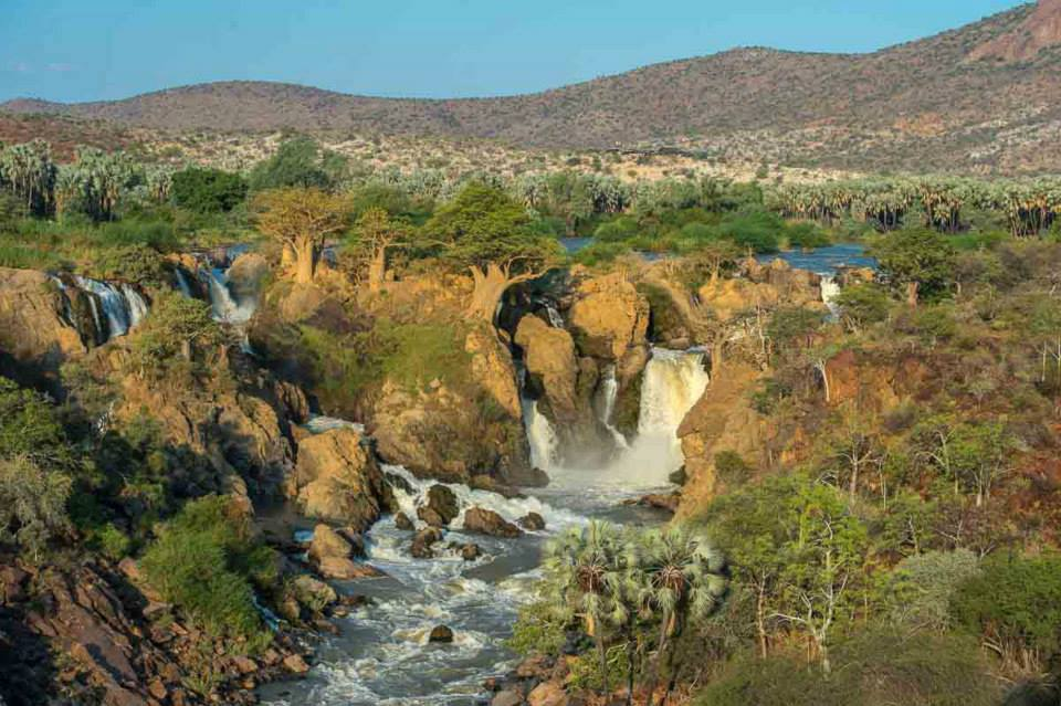 Epupa Falls, with baobabs clinging to the rocky outcrops