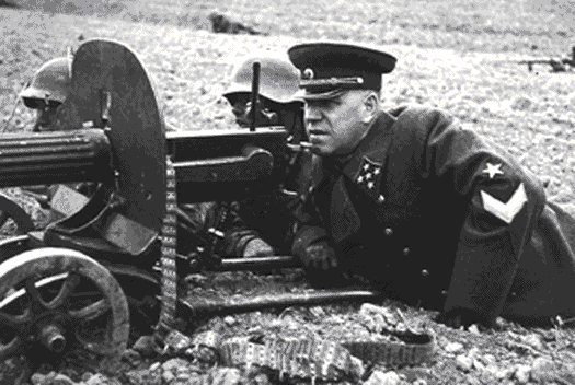 Georgy Zhukov - Personally sighting a machine gun at Kursk