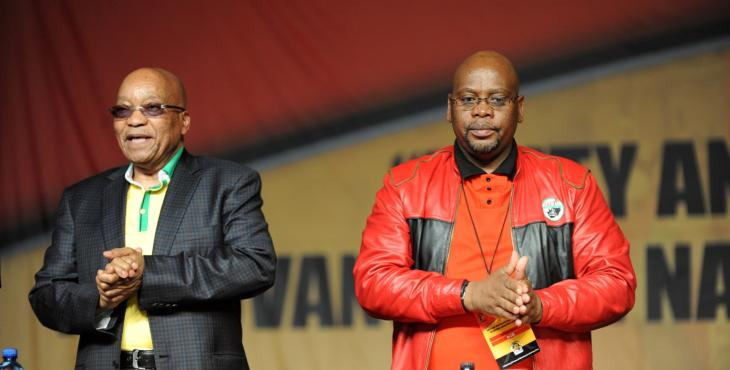 President Jacob Zuma and Cosatu president Sdumo Dlamini at the 12th elective conference held at Gallagher Estate in Midrand