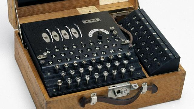GERMANY - OCTOBER 18: A four-rotor German Enigma cypher machine with a second operator display (a 'remote lampboard'), made during World War II. This type of machine, devised by the German Navy in 1939, was used to encode wartime messages requiring a particularly high degree of security. The cracking of German cypher codes by Allied intelligence was a major achievement in cryptanalysis and played a key role in the outcome of the North Atlantic U-boat engagements. The search to crack the the Enigma codes also resulted in ?Colossus?, the first all-electronic digital computer. This rare machine is thought to have been used in the post-war years for coding diplomatic traffic in Switzerland. (Photo by SSPL/Getty Images)