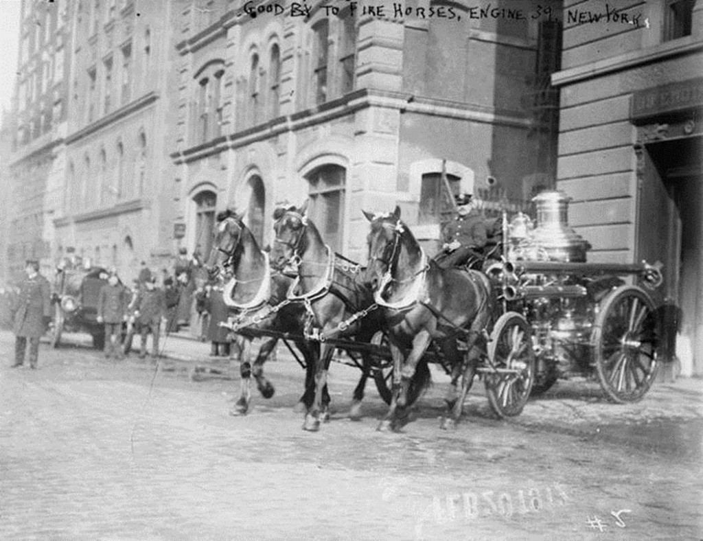 A horse-drawn fire engine of Engine No. 39 leaving Fire Headquarters at 157 East 67th Street for the last time after being replaced with a motorized fire engine, New York City, February 19, 1912
