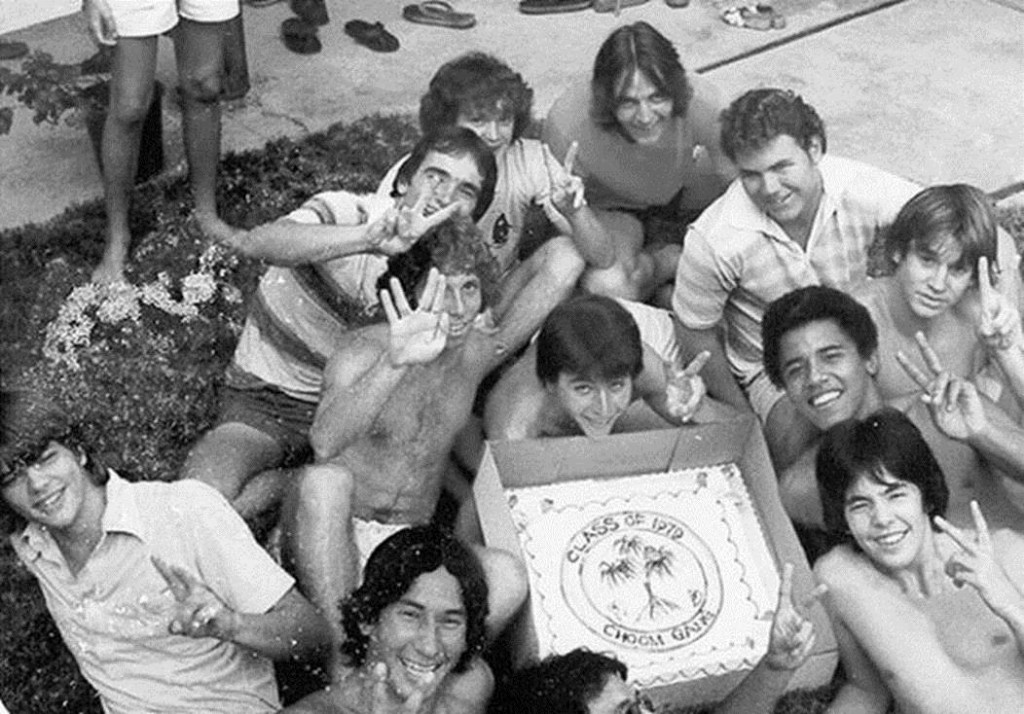Barack Obama posing with a group of friends that called themselves the Choom Gang, Hawaii, c. 1979. Choom was slang for smoking marijuana