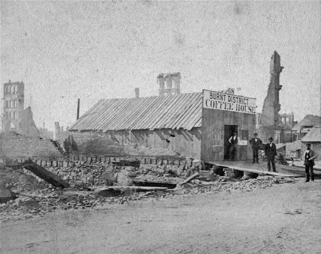 Burnt District Coffee House in Chicago after the Fire, 1871. Chicago entrepreneurs quickly reacted to establish or reestablish businesses in the fire district