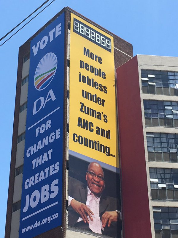 The ANC now claims that this DA Bilboard about joblesness is racist!!