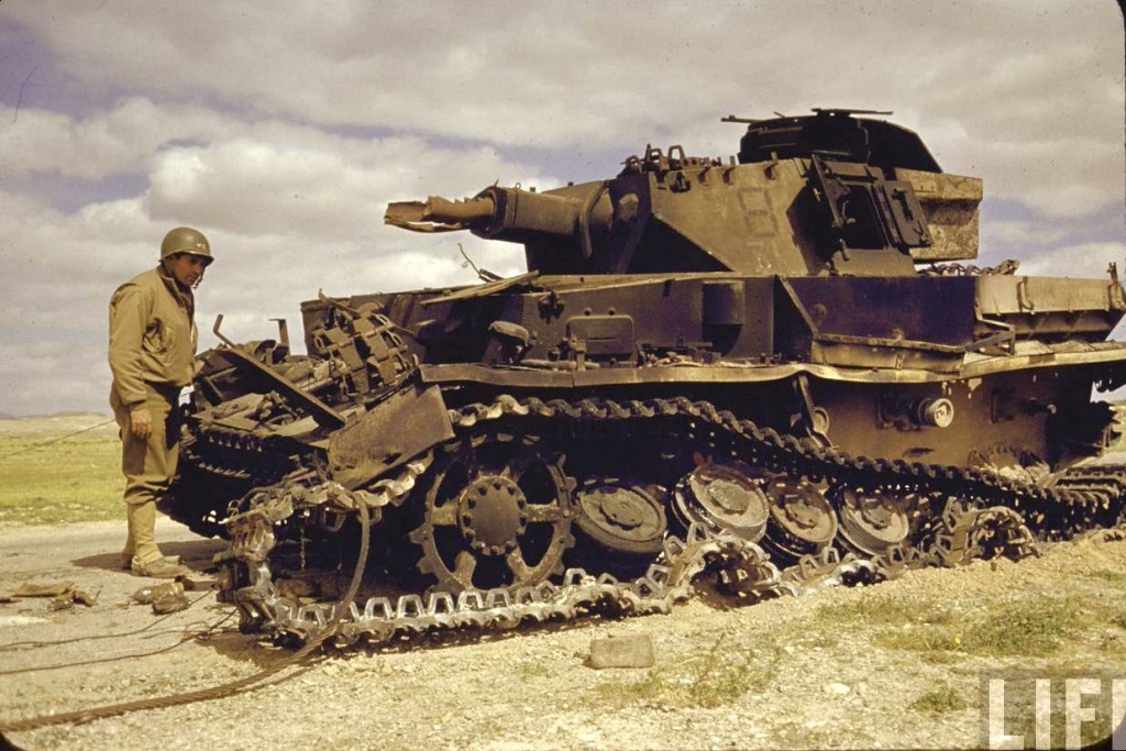 German Panzerkampfwagen IV that was knocked out during the battle for El Guettar Tunisia