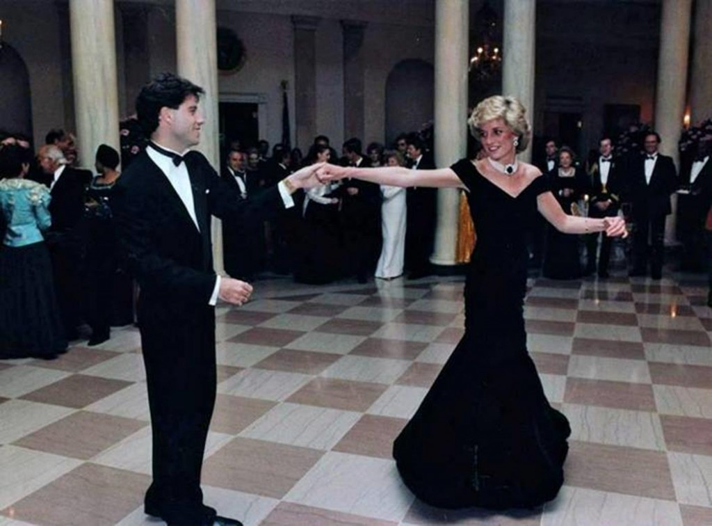 John Travolta takes Princess Diana for a dance in the White House, 1985