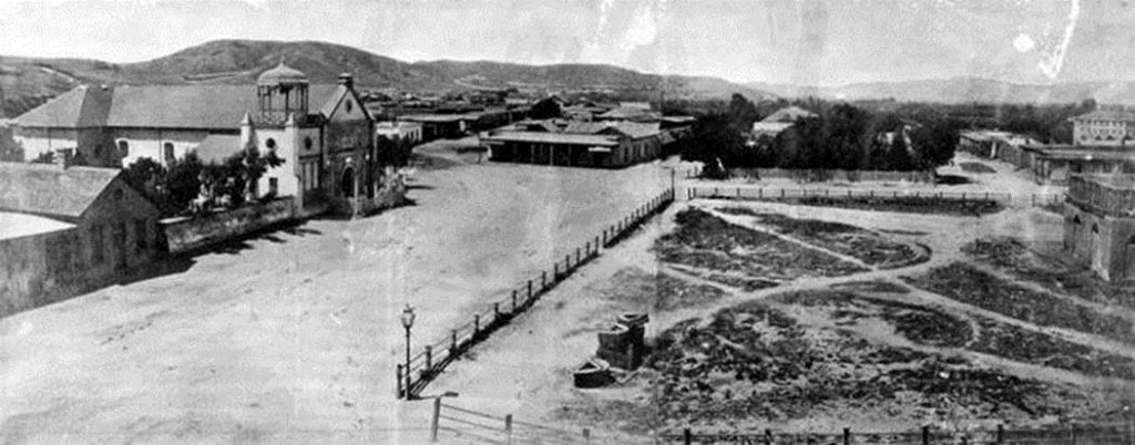 La Plaza, as seen from the Pico House. Pueblo Los Angeles, c. 1869