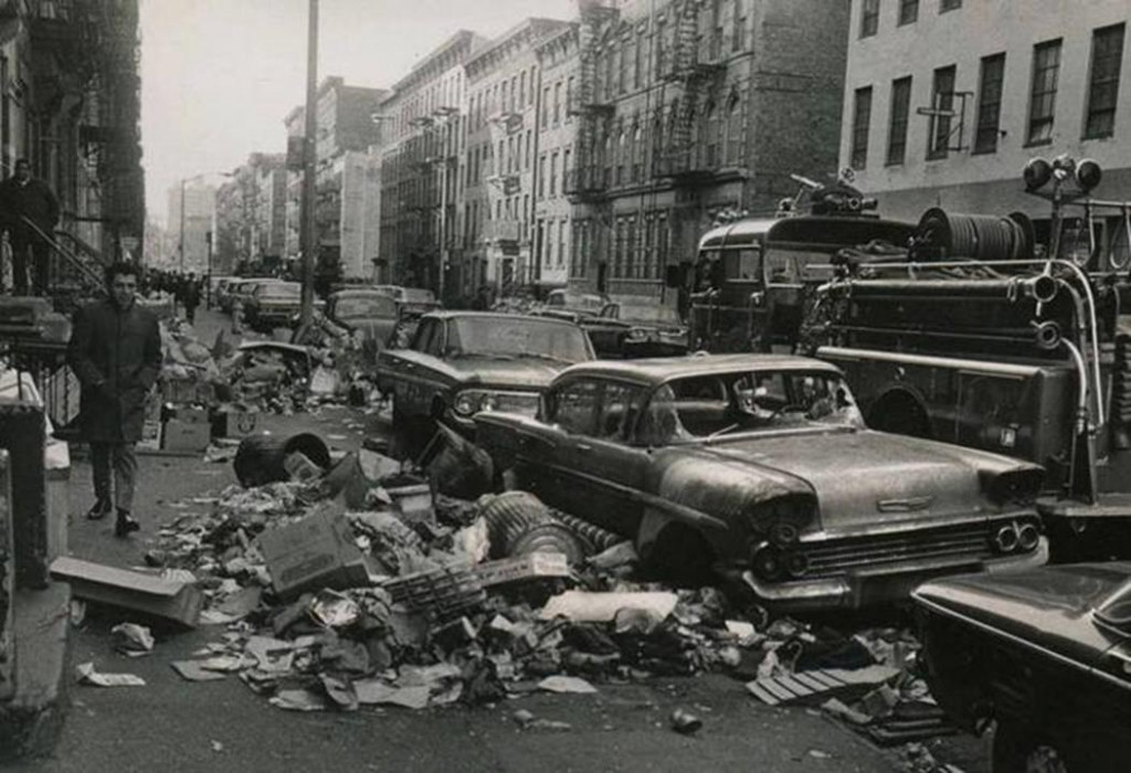 New York City sidewalks filled with trash during the 1968 strike of sanitation workers