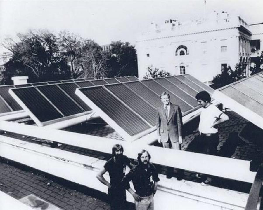 President Carter with engineers and solar panels newly installed on the White House, 1979. President Reagan had them removed in 1986, to be reinstalled by President Obama in 2010