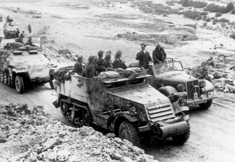 Rommel-at-Kasserine-Pass-with-a-captured-American-half-track