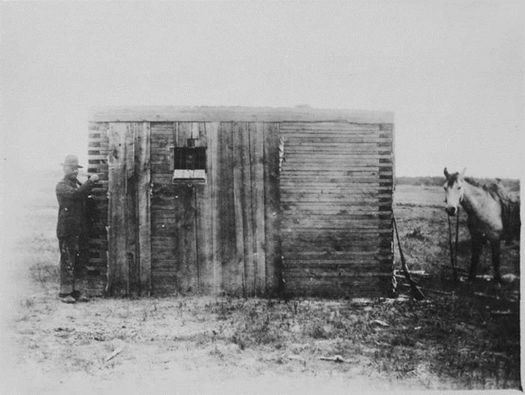 Wood-plank prison in Wyoming, 1893