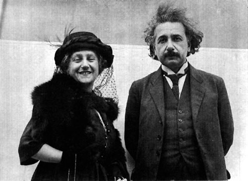 Einstein with his second wife and cousin, Elsa