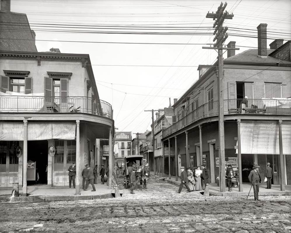 New Orleans circa 1906. Italian headquarters, Madison Street. The streets were still dirt