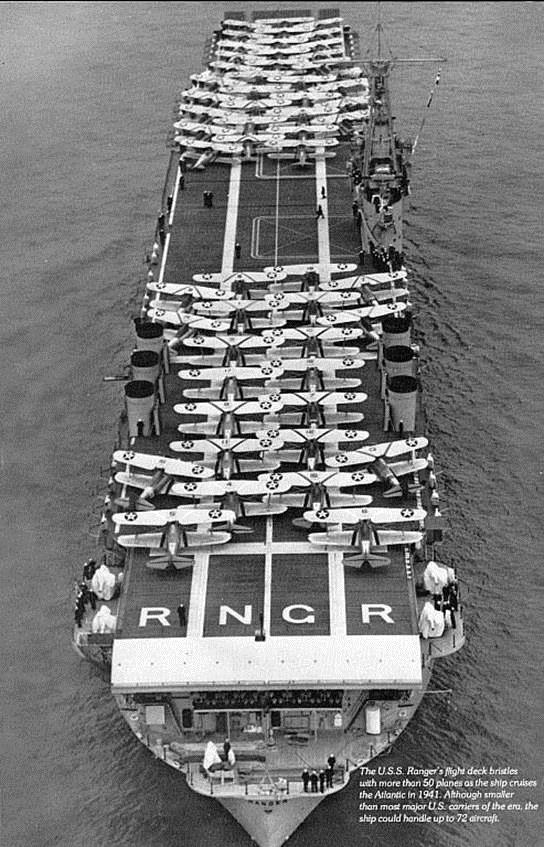The USS Ranger....the first Aircraft Carrier. Just look at the Bi-Planes