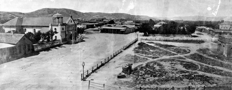 01 La Plaza, as seen from the Pico House. Pueblo Los Angeles, c. 1869