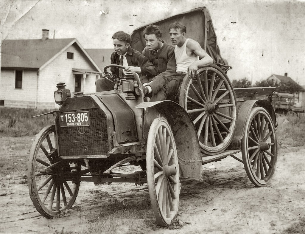 18 Three friends take a joyride on their 'new' vehicle, Ohio, c. 1924