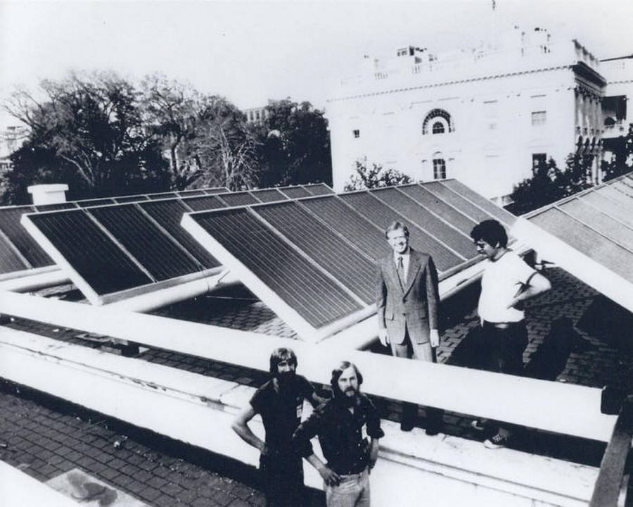 36 President Carter with engineers and solar panels newly installed on the White House, 1979. President Reagan had them removed in 1986, to be reinstalled by President Obama in 2010
