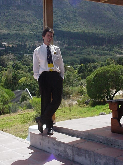 Blaine on the Stoep of The Pad overlooking the Houtbaairivier Valley. No I didn't wear my Bart Simpson tie to meet with SpaceHab