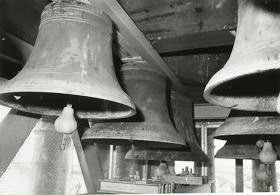 Bells in position in the tower of the Campanile