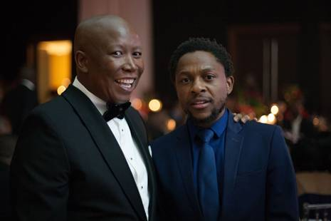 EFF leader Julius Malema and party spokesperson Mbuyiseni Ndlozi at the EFF's gala dinner after the party's manifesto launch. (Greg Nicolson)