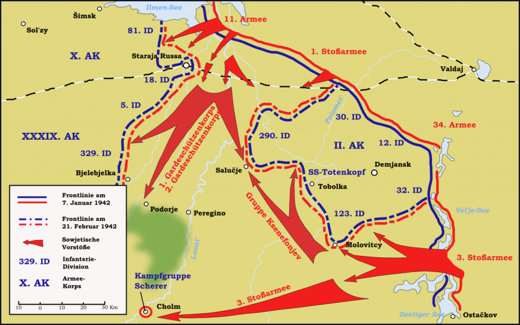 Map of Russian advance at Demyansk