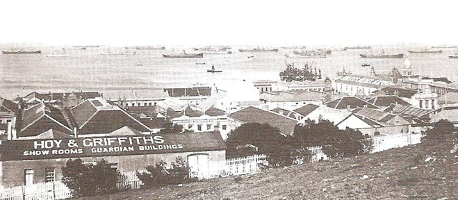 Ships in the roadstead c1900