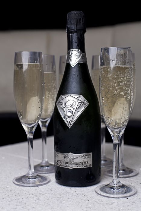 The most expensive champagne in the world is the delicious Gout de Diamants Champagne, which was sold for 1.2 million. However, it is not the liquid that makes this bottle so pricey, but the bottle, which has an 18 carat white gold plate with a 19 carat diamond mounted in the middle of it.