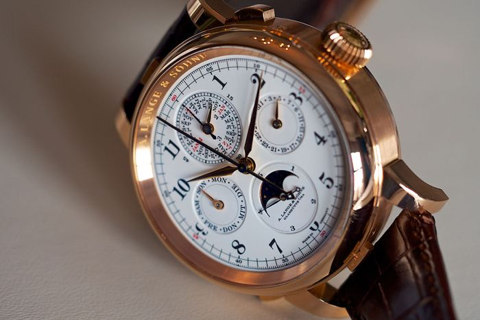The most expensive watch in the world is the A. Lange Sohne Grand Complication. This immensely complicated (876 hand wrought parts, 7 complications and 14 functions) and precise watch can only be made by one man in the whole world, and it takes him a whole year just to make one! It can be yours, with some patience and $2.5 million dollars.