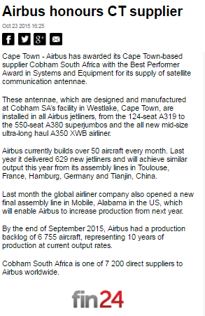Airbus honours Cape Town Supplier#2