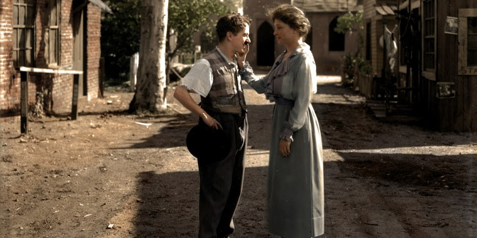 Helen Keller meeting comedian Charlie Chaplin in 1918