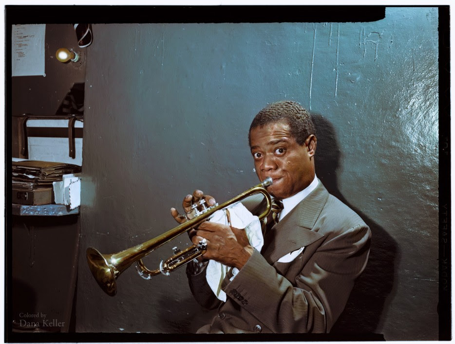 Louis Armstrong practicing backstage in 1946