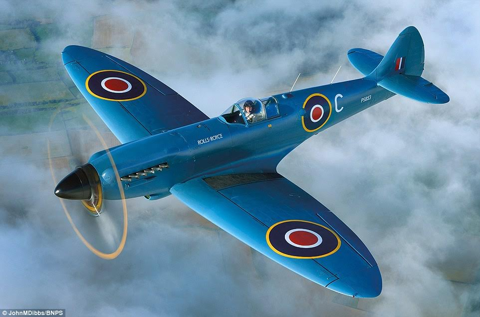 Monumental: The blue coloured Spitfire is powered by a Rolls-Royce Griffon engine and has a top speed of 446 mph and a ceiling of 42,000 ft