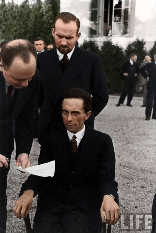 Nazi Minister of Propaganda Joseph Goebbels scowls at a Jewish photographer in 1933