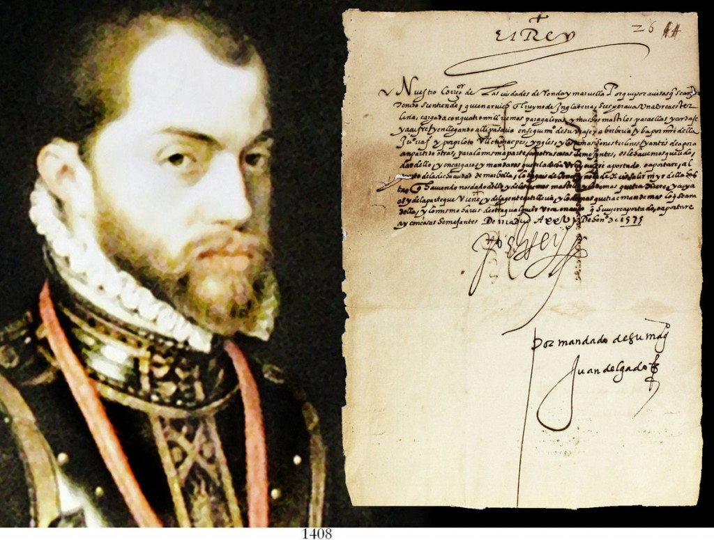 Original 1575 document signed by King Philip II of Spain