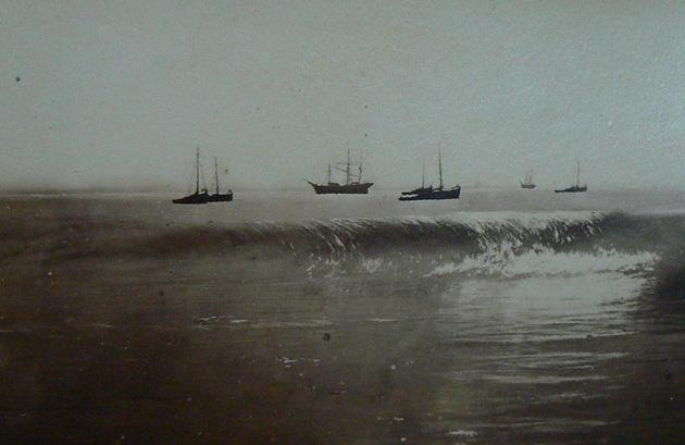 Ships at anchor in the Bay