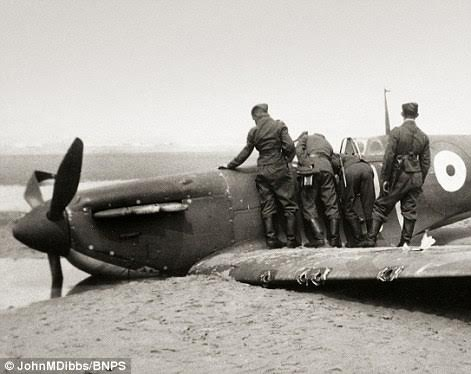 The plane lay buried under tidal sands on a beach at Sangatte, near Calais, until it was rediscovered and salvaged