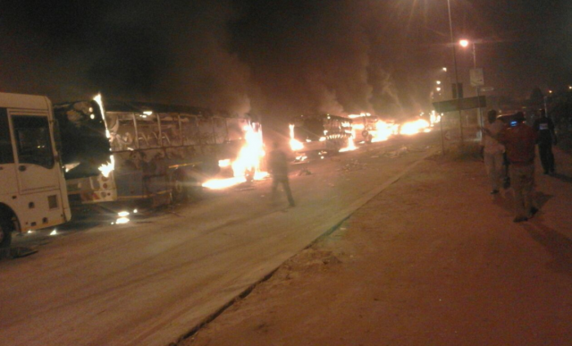 Buses being set alight