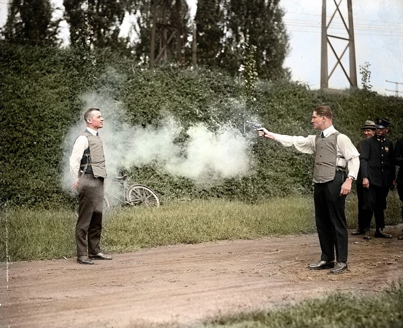 W.H. Murphy testing the bulletproof vest in 1923