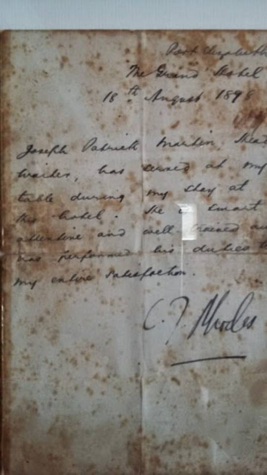 A letter written in 1898 by Cecil John Rhodes to the Grand Hotel after his stay.