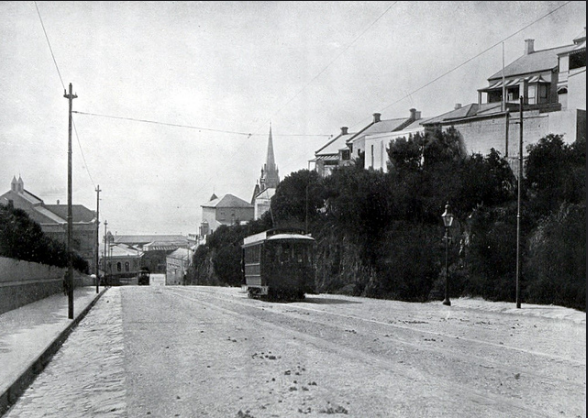 A tram travelling up White's Road