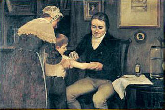 Edward Jenner administering the first smallpox vaccination in 1796. Painting by Ernst Board