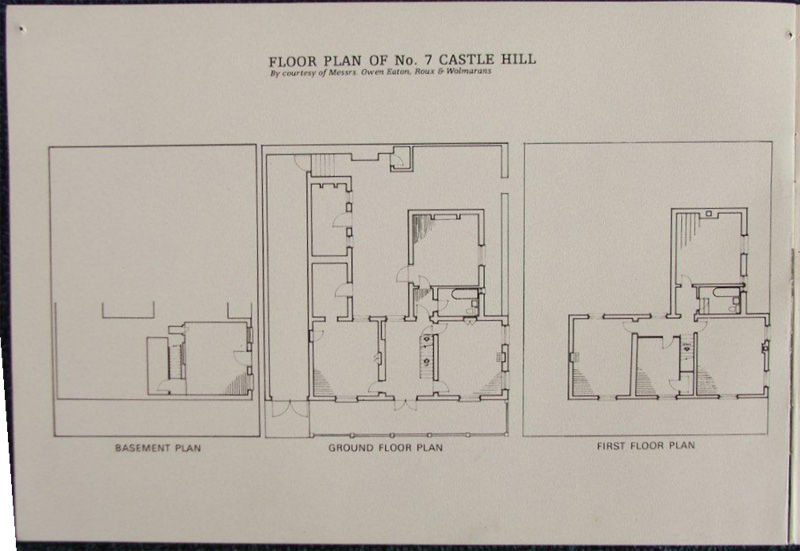 Floor Plan of No. 7 Castle Hill - By courtesy of Messrs. Owen Eaton, Roux & Wolmarans
