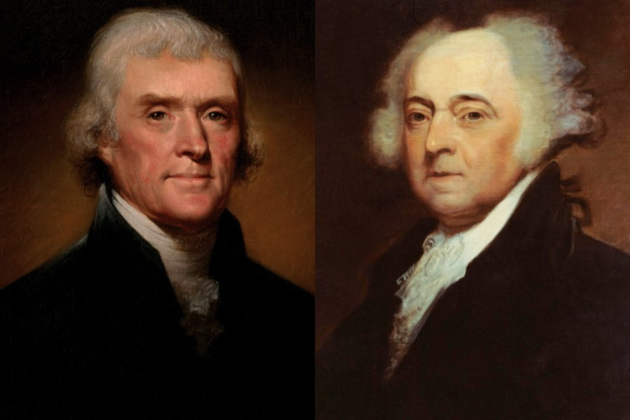 "Founding fathers Thomas Jefferson (left) and John Adams (right), alternately close friends and bitter rivals across their intertwined political careers, died on the same day — July 4, 1826 — the 50th anniversary of American independence, of which these two men were chief architects. At around 6 p.m. on that fateful day, Adams, unaware that Jefferson had died just after noon, uttered his final words: ""Thomas Jefferson survives."""