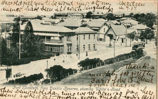 Post card showing top of White's Road Dated 1907.Show's Grand Hotel and old grammar school building.