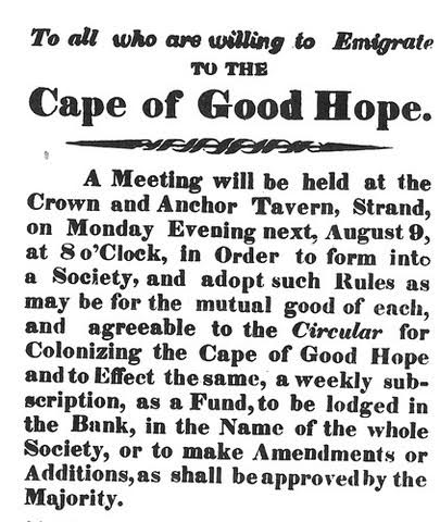 Offer to emigrate to the Cape