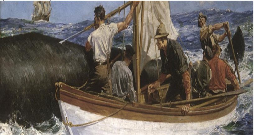 Painting of whalers at work