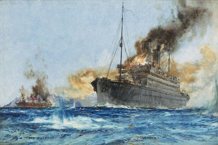In the midst of World War I, the British army converted the passenger ship RMS Carmania (right) into a battleship. To avoid enemy fire, it was disguised to look like the German ship SMS Trafalgar (left). In 1914, the Carmania sank a German ship off of the coast of Brazil. The sunken ship was the Trafalgar, which had been disguised to look like the British Carmania.