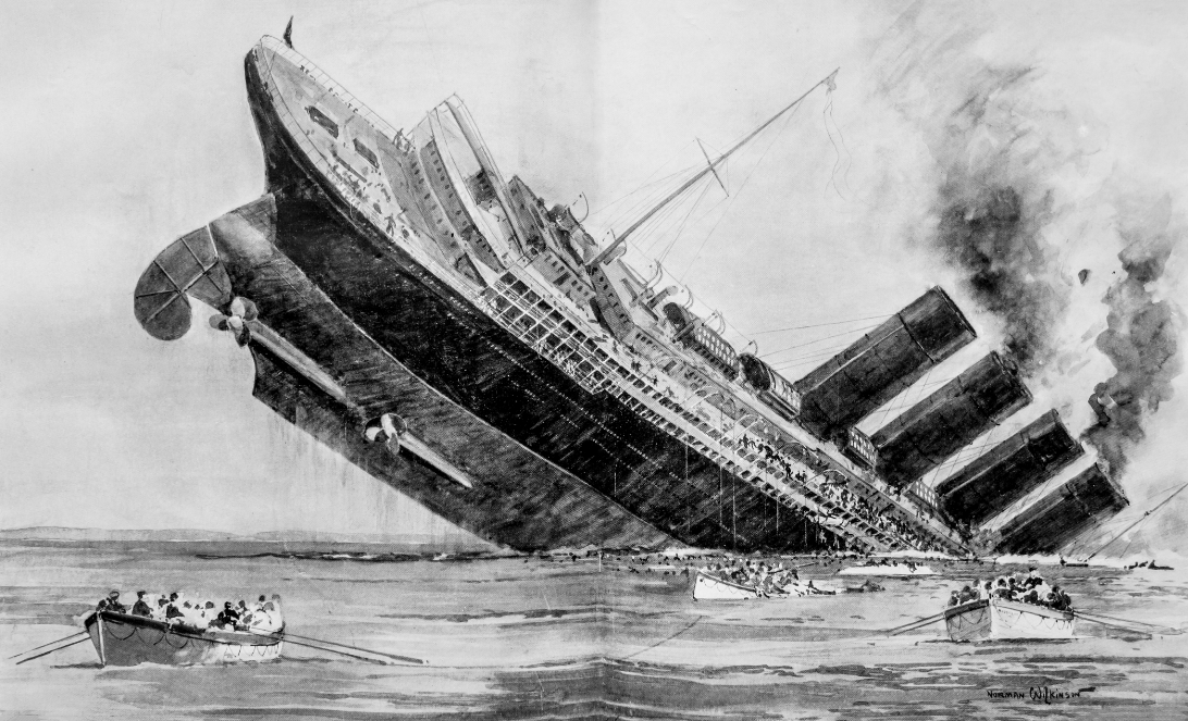 Sinking of the civilian liner the Lusitania by a Kriegsmarine U-Boat