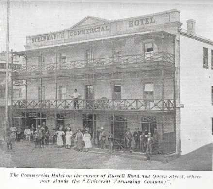 Steinmann's Commercial Hotel at the foot of Russell Road which was ultimately destroyed by fire