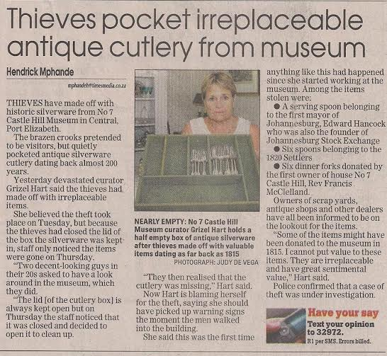 Theft of silver cutlery